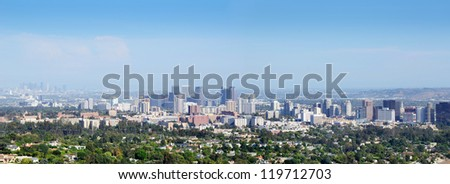 Panorama of downtown Santa Monica with downtown Los Angeles in the background