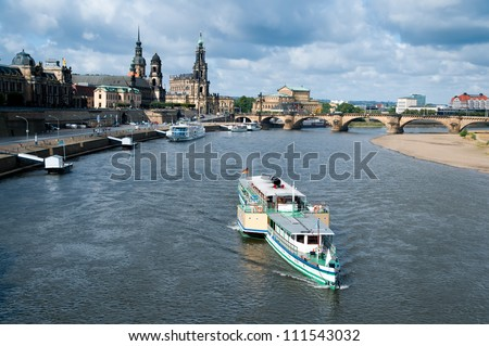 Panorama of Dresden Old Town across the water