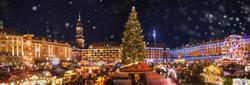 Panorama of dresdener christmas market in the snow