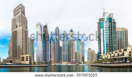 Panorama of Dubai Marina in a summer day, UAE #397091029
