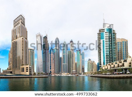 Panorama of Dubai Marina in a summer day, UAE #499733062