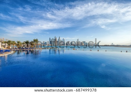 Panorama of Dubai Marina Skyline. United Arab Emirates #687499378