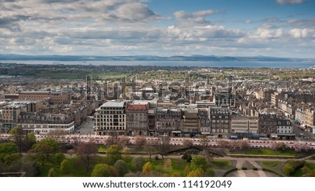 Panorama of Edinburgh, Scotland. View from the castle hill.