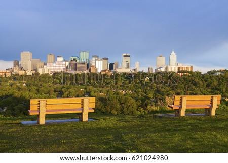 Panorama of Edmonton at sunrise. Edmonton, Alberta, Canada.