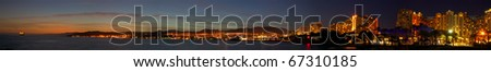 Panorama of Eilat, Israel, after dusk long exposure - stock photo