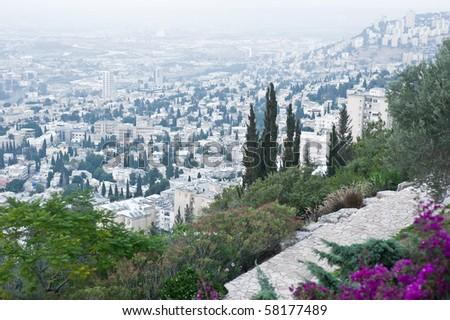 Panorama of evening Haifa