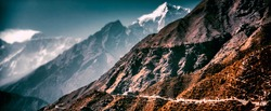 Panorama of everest base camp trekking trail, EBC, Sagarmatha National Park, Nepal