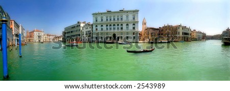 Panorama of famous Grand Canal and historic buildings in Venice, Italy.
