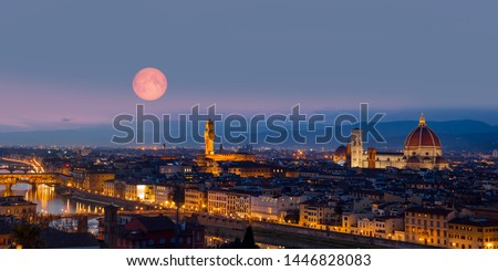 Panorama of Florence and Cathedral of Santa Maria del Fiore (Duomo) - Ponte Vecchio over Arno river - Florence, Italy 'Elements of this image furnished by NASA ' Foto stock ©
