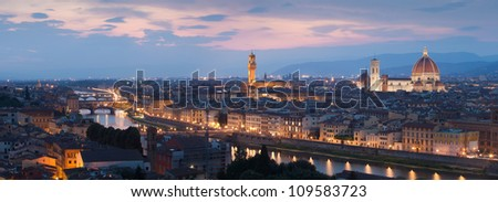 Panorama of Florence and river Arno after sunset, Tuscany, Italy, Europe
