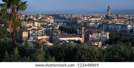 Panorama of Florence city with green trees on the foreground