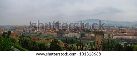 Panorama of Florence seen from Michelangelo square: Arno River, Dome, Cathedral, National Library.