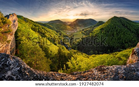 Panorama of forest and mountain in Carpathian with sun, Slovakia Foto stock ©