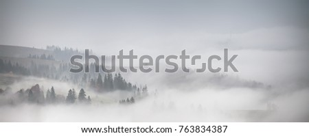 Panorama of forest covered by low clouds. Autumn rain and fog on the mountain hills. Misty fall woodland. #763834387