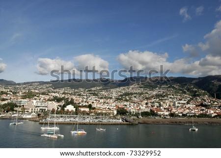 Panorama of funchal city on Madeira island, Portugal