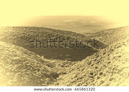 Panorama of Galilee- the Northern District of Israel. Aerial view of Galilee mountains and Mediterranean sea. Vintage Style Toned Picture