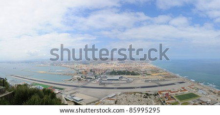 Panorama of Gibraltar with airport