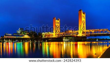 Panorama of Golden Gates drawbridge in Sacramento at the night time #242824393