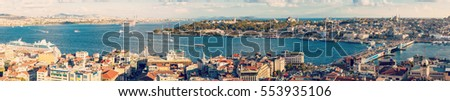 Panorama of Golden Horn Gulf and the Bosphorus in Istanbul, Turkey #553935106