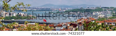 Panorama of Golden Horn Gulf and the Bosphorus in Istanbul, Turkey