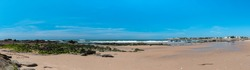 Panorama of Govelle Beach in France near to Nantes under a great blue sky