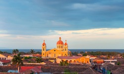 Panorama of Granada at sunset with the Nicaragua lake in the background, Nicaragua.
