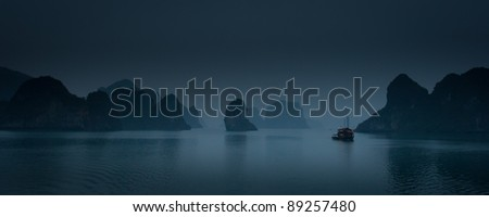 Panorama of Ha Long Bay after sunset, Vietnam