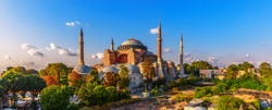 Panorama of Hagia Sophia in Istanbul, Turkey