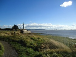 Panorama of Hale Lighthouse and Frodsham and Helsby Hills