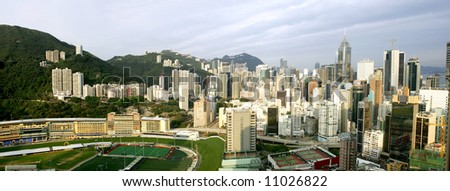 Panorama of Happy Valley in early morning, Hong Kong