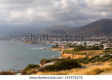 Panorama of Hersonissos town, resort in Crete, Greece