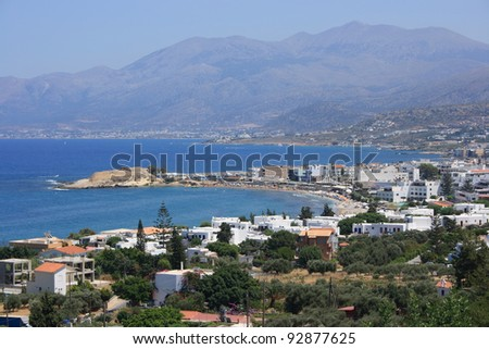 Panorama of Hersonissos town, resort in Crete, Greece