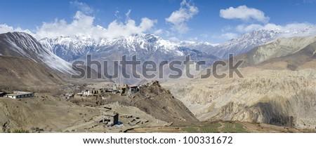 Panorama of Himalaya mountains in Nepal