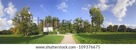 Panorama of Historic park with gardenhouse of Goethe in Weimar
