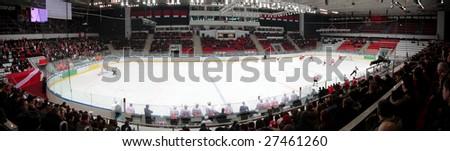 Panorama of hockey stadium - stock photo