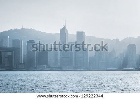 Panorama of Hong Kong at sunset. backlight