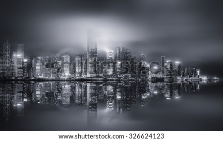 Panorama of Hong Kong island, skyline and Financial district, black and white, China #326624123