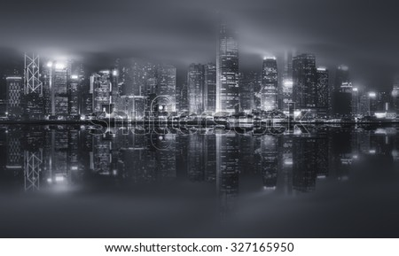 Panorama of Hong Kong island, skyline and Financial district, black and white, China #327165950