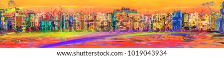 Panorama of hot abstract town