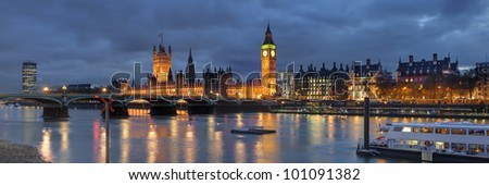 Panorama of house of Parliament London, Great Britain