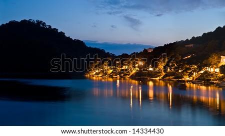Panorama of island Lastovo by night, Croatia - stock photo