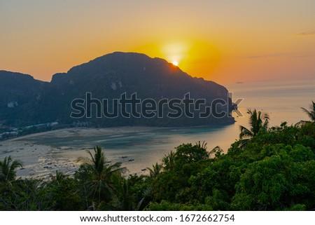 Panorama of  islands Phi Phi Don and Phi Phi Leh in Krabi, Thailand