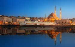 Panorama of Istanbul at a dramatic sunset from Galata Bridge, Istanbul, Turkey