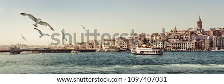 Panorama of Istanbul with Galata Tower at skyline and seagulls over the sea. Wide landscape of Golden Horn at sunset with Galata bridge and passenger ships - travel background for your billboard.