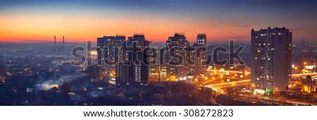Panorama of Kiev in the long exposure