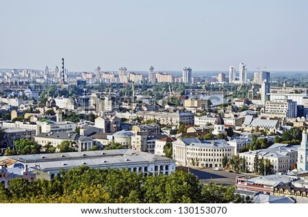 Panorama of Kiev, Ukraine, in the summer