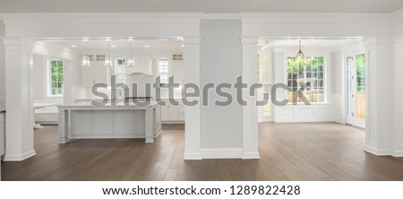 Panorama of Kitchen And Dining Room Interior in New Luxury Home #1289822428