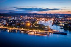 Panorama of Koblenz at evening. Koblenz, Rhineland-Palatinate, Germany.