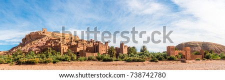 Panorama of Ksar Ait Benhaddou a UNESCO World Heritage Site in Souss-Massa-Draa, Morocco, Africa.