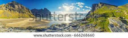 Panorama Of Kvalvika Beach on the Lofoten Islands, Norway #666268660